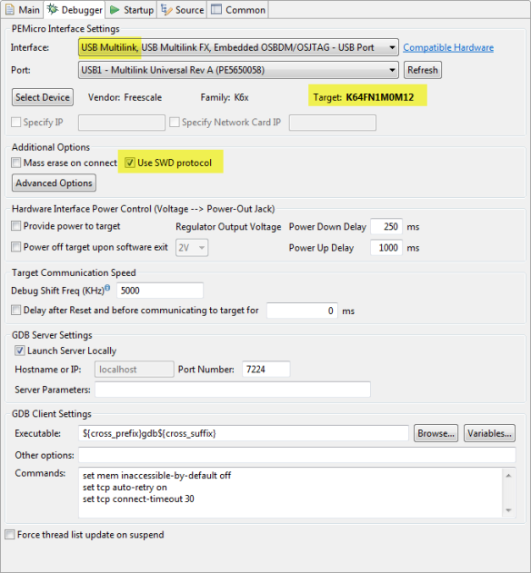 FRDM-K64F Debugger Launch Settings
