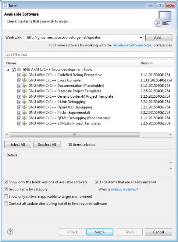 GNU ARM Eclipse Plugins Installation