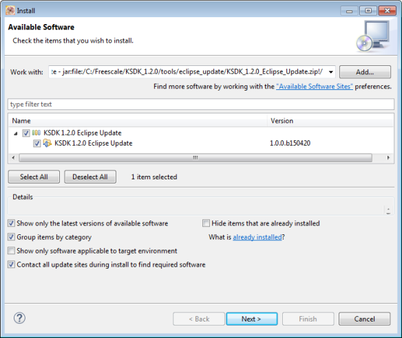 Installing Kinetis SDK v1.2 update in Eclipse