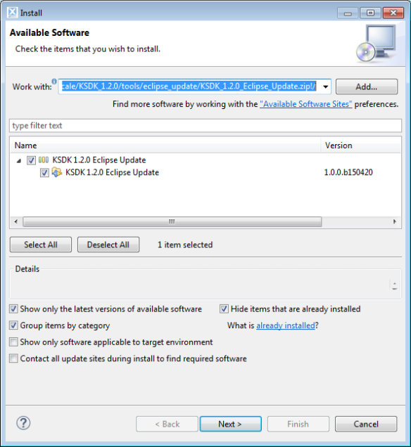 Installing SDK Update Package into LPCXpresso