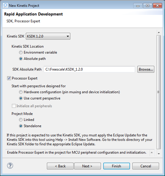 SDK and Processor Expert Selection