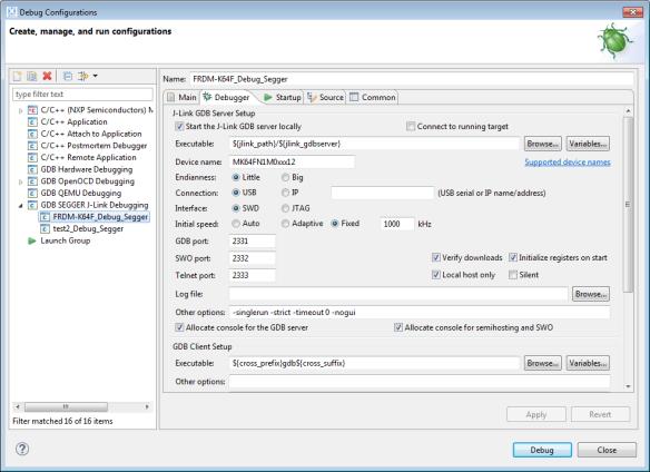 Segger J-Link Debug Configuration