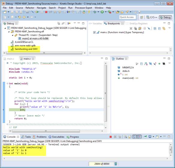 Semihosting Output in Debugger