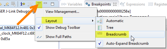 Switching to Breadcrumb debug view