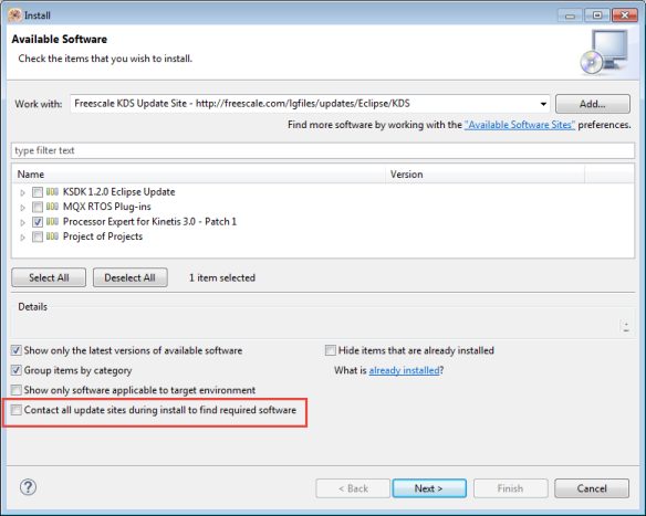 Disabled Contact all update sites during install to finid required software