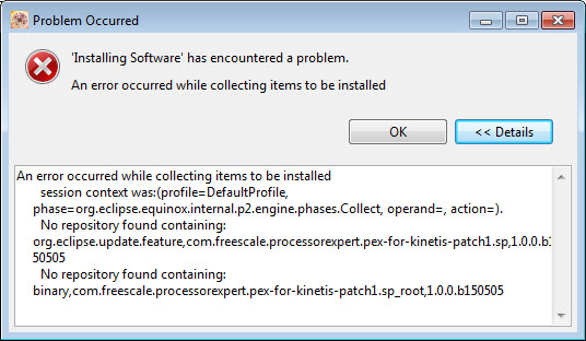 Installing Software has encountered a problem