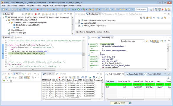 Blinky Task with FreeRTOS and Kinetis SDK in KDS v3.0.0