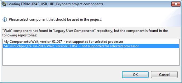 Dialog to select which repository to use for component