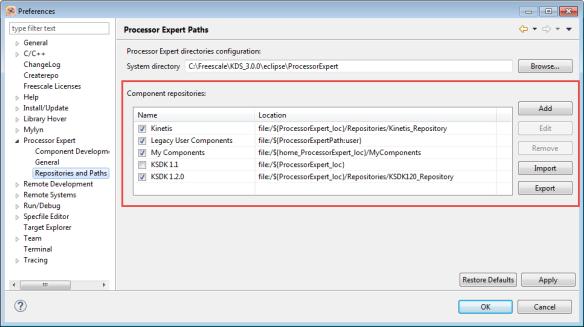 Processor Expert Repositories