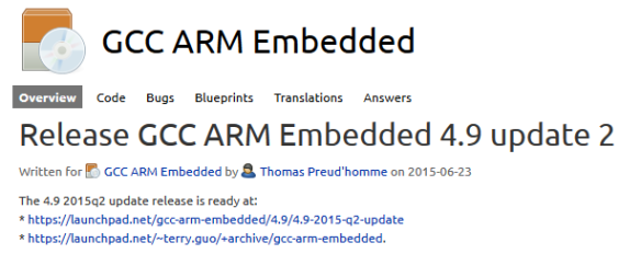 Release GCC ARM Embedded 4.9 update 2