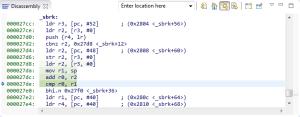 Stack pointer comparison in _sbrk