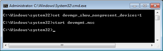Started Device Manager from DOS Cmd