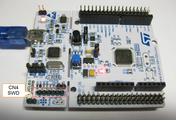 STM32F103 NUCLEO Board with CN4 SWD Header