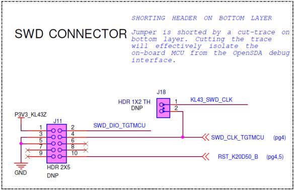 SWD Connector Schematic on FRDM-KL43Z