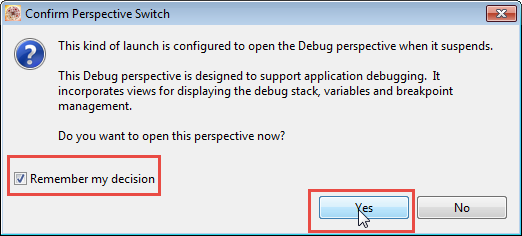 Switch to Debug Perspective