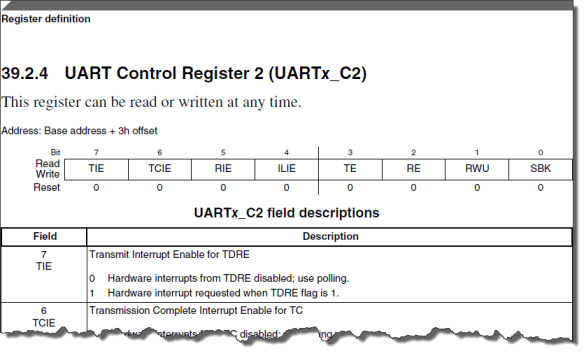 UART Register (Source: Freescale KL25Z RM)
