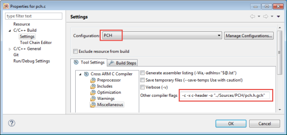 Compiler Options to produce precompiled header file
