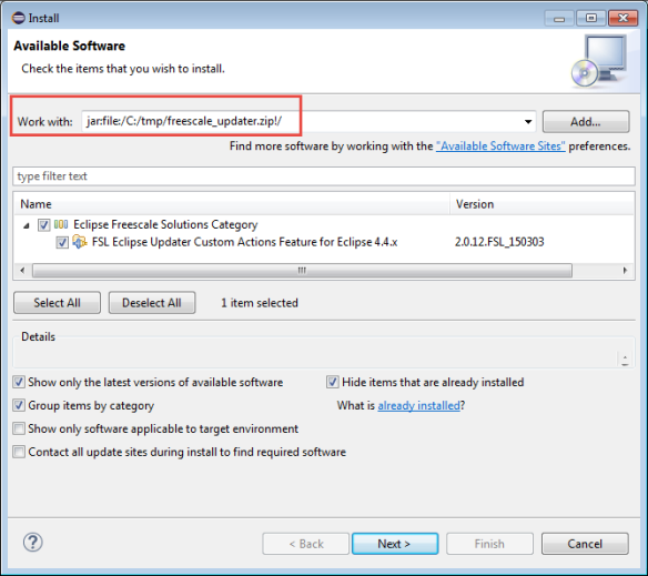 Installing Freescale Updater