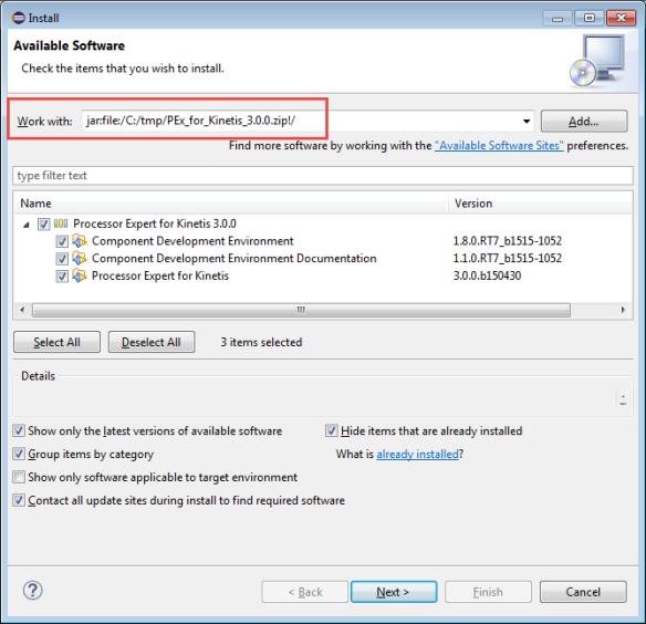 Processor Expert for Kinetis V3.0.0 installation