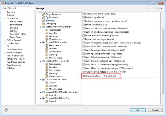 Warning about invalid pch Files