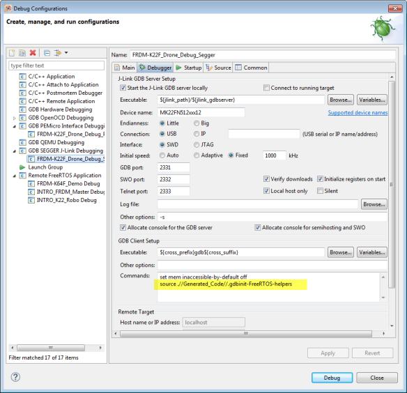 Debugger Settings and Commands
