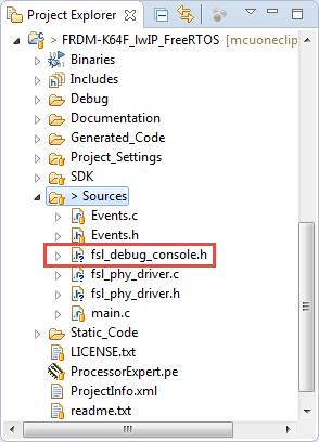 fsl_debug_console added to project