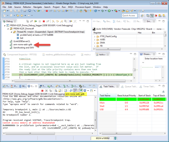 GDB console View