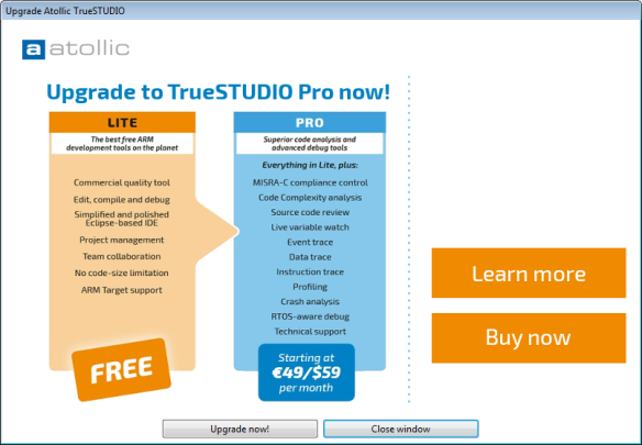 Atollic Studio Upgrade Dialog