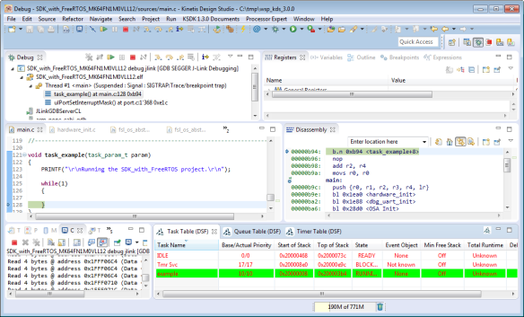 Debugging FreeRTOS Project