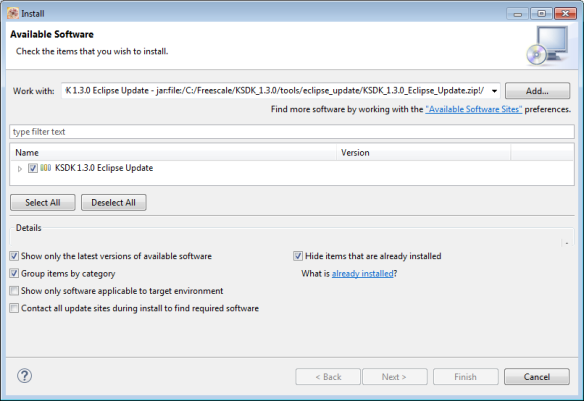 Installing SDK V1.3 Update in Eclipse