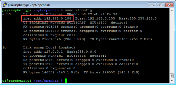 IP Address of Raspberry