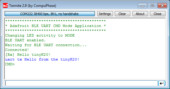 Sending BLE UART message from Microcontroller