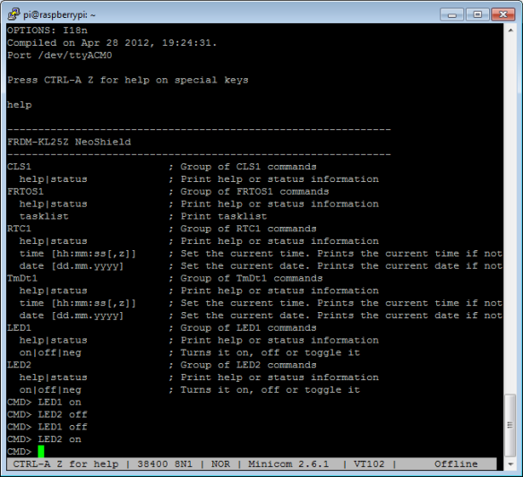 Testing LED with terminal program
