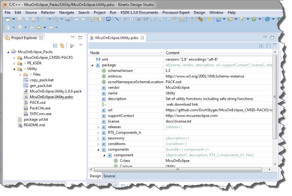 Editing CMSIS Pack File with Eclipse XML Editor
