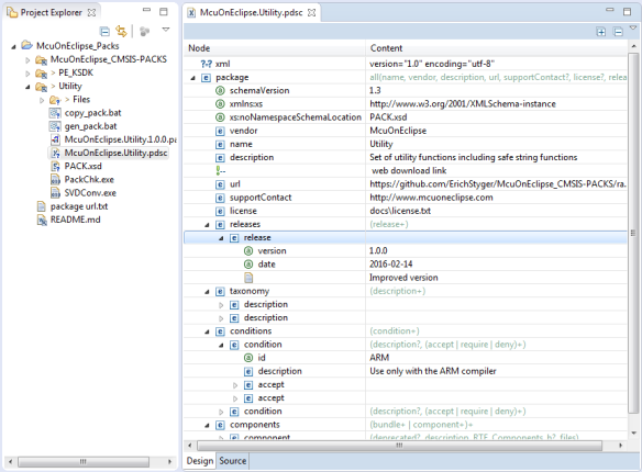 Editing CMSIS-Pack .pdsc File in Eclipse