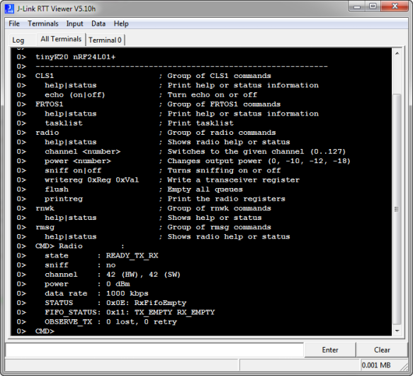 Command Line Shell with Segger RTT