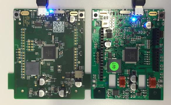 Intro V2 board (left) and previous V1 board (right)