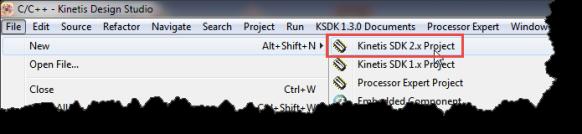 New Kinetis SDK v2.0 wizard