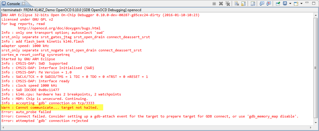 "Solution for OpenOCD ""Cannot communicate… target not haltet"