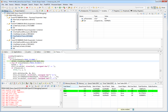 Tread Aware Debugging with FreeRTOS in Eclipse Kinetis Design Studio