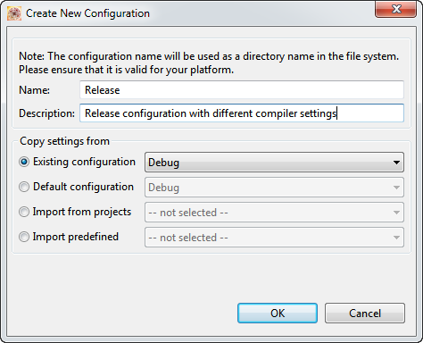 Creating New Configuration