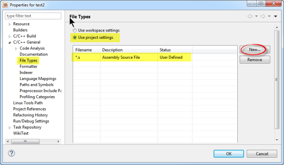 File Types in Project Settings