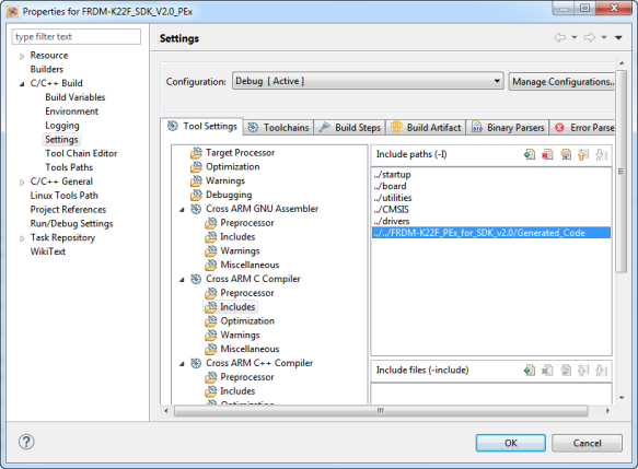 Include Settings in SDK Project to find the Processor Expert Headers