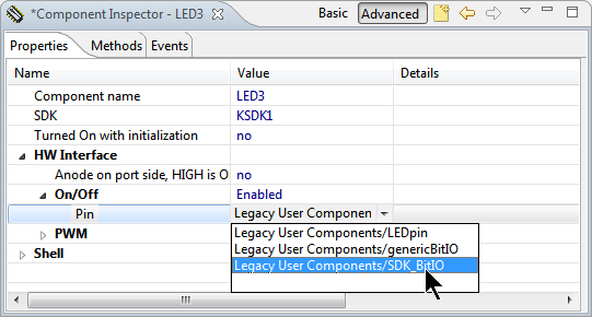 Selecting SDK_BitIO Component
