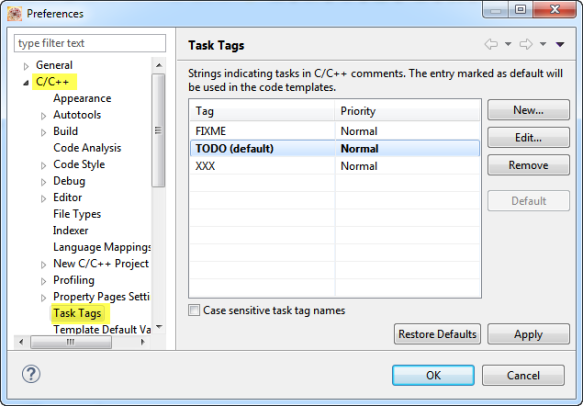 Task Tag Settings