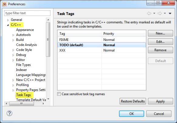 Task Tag Settings