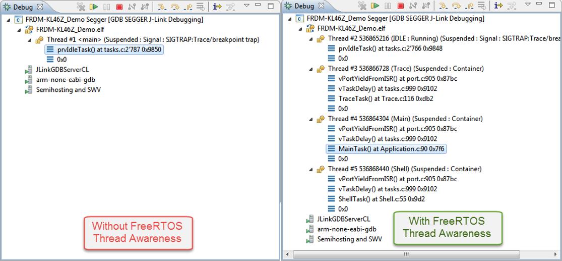 FreeRTOS Thread Debugging with Segger GDB in Eclipse   MCU