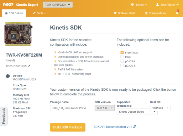 Kinetis SDK for TWR-KV58F220M