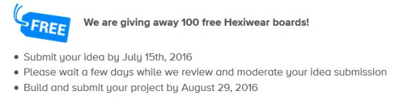 100 free Hexiwear Boards
