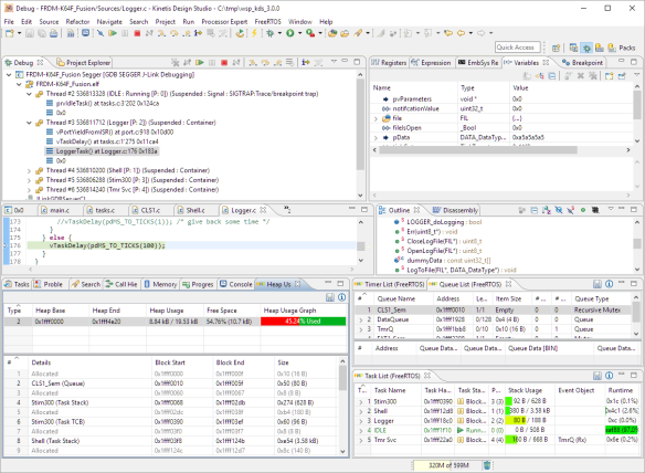 FreeRTOS Kernel Awareness in Kinetis Design Studio
